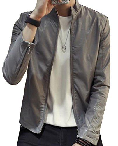 ouxiuli Men's Slim PU Leather Motorcycle Rider Jacket Grey L