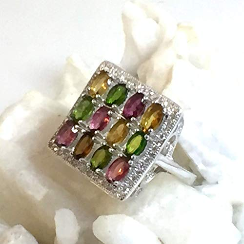 - Sz 9, Genuine Rubellite-, Dravite-TOURMALINE and CHROME DIOPSIDE(12) Gemstones and Cubic Zirconia, 14k White GOLD Vermeil and 925 Sterling Silver, Square Ring Fine Jewelry.