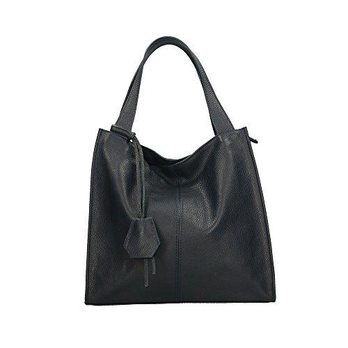 fabriqué italie Cm Aren femme cuir pour à bandoulière véritable 34x31x10 sac en Bleu Foncé en 1nq4fTg