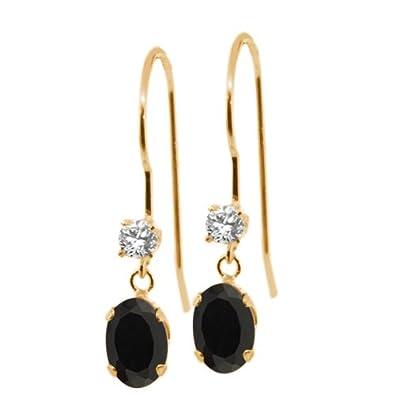 0.88 Ct Oval Black Onyx 14K Yellow Gold Earrings