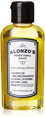 Alonzo's Sensational Premium Natural Shaving Oil for Men | Works as Moisturizing Pre Shave/After Shave/Beard Oil for Face Body & Head | Smooth Pre-Shave 2oz