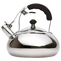 Vanika Stainless Steel Tea Kettle; Whistling Teapot Design; Large 3.0L (3.2 Quart)