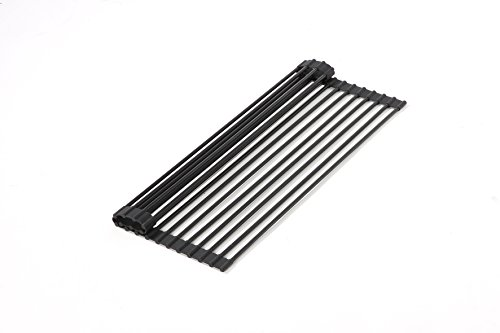 Over the Sink Roll-Up Drying Rack - Modern Folding Dish Drainer Dry Rack for Kitchen, 20.5 x 12.6 x 0.3 Inches, Black by Juvale