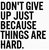 DON'T GIVE UP JUST BECAUSE THINGS ARE HARD VINYL STICKER
