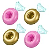 Pool Toy Drink Floats - Gold & Pink Diamond Ring Shape | Inflatable Cup Holder Water Floats for Pool Party - by Fractal