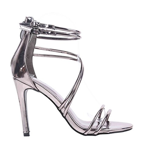 Faux Leather Strappy Heel Sandal (Sweet eCom Women High Heels Sandals Stiletto Heels Strappy Zipper Closure Buckle Adjustment Faux Patent Leather (7.5, Pewter))
