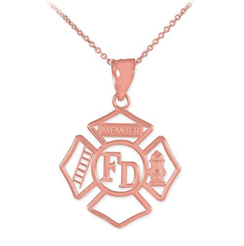 Collier Femme Pendentif 14 Ct Or Rose Fd Ouvert Badge Pompier (Livré avec une 45cm Chaîne)