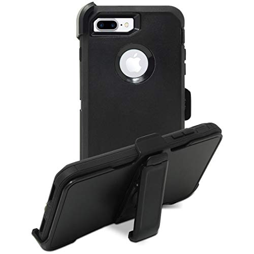 Speira Belt-Clip Kick-Stand Heavy Duty Holster Case [Built-in Screen Protector] Compatible with iPhone 8 Plus / iPhone 7 Plus (Black-Black)