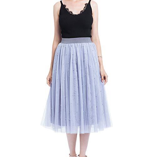 Koolee Womens Elastic Waist Gathered Tulle Mesh Midi Skirt with Full Pearl Decoration (Gray) -