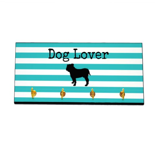 Striped Dog Lover Key and Leash Hanger - Bulldog (Color=Teal)