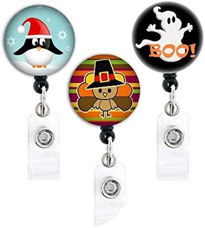 Holiday badge reel  New Years badge reel retractable badge reel