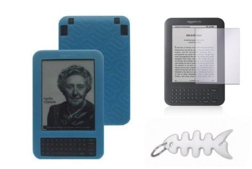Blue Silicone Skin Cover + LCD Screen Protector + Fishbone Style Keychain for Kindle 3G Wireless Reading Device, 3G + Wi-Fi, 6