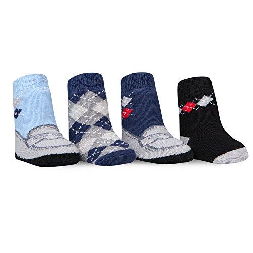 Waddle Boys Baby Socks 4 Pairs Preppy Argyle Socks Loafer Shoes Newborn 0-12M Designer Infant Shoes