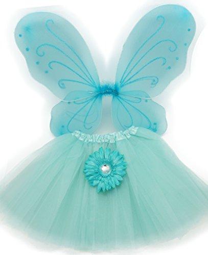 Aqua Fairy Costumes (Aqua Princess Costume Set with Wings, Tutu, and Daisy Hair Clip)