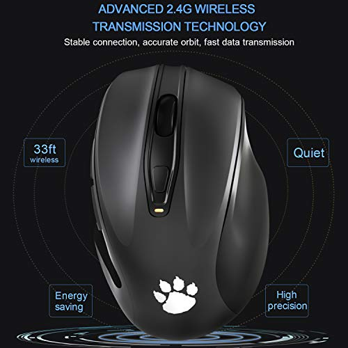 2.4G Wireless Mouse, Portable Mobile Optical Mice with Nano USB Receiver 2400DPI 6 Buttons for Notebook PC Laptop Computer MacBook, Black