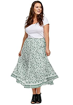 Ellos Women's Plus Size Printed Long Tiered Skirt