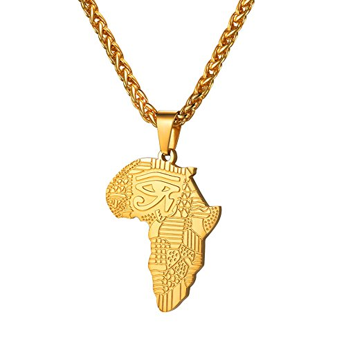 U7 Men Gold Africa Map Necklace Egyptian Eye of Horus Design Lucky Protection Jewelry with 18K Gold Plated Rope Chain 22 Inch