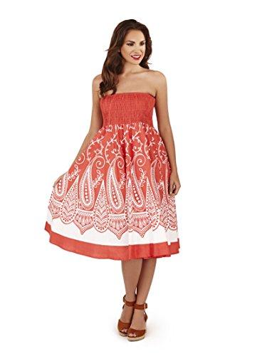 Vestido Veraniego de Dama 2 en 1 de algodón Pistachio Rojo 4