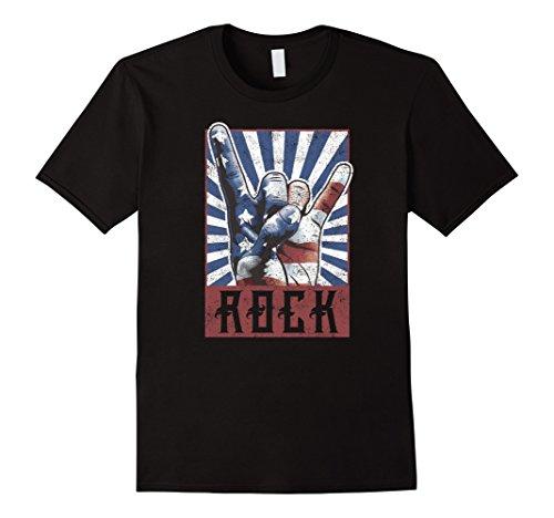 (Mens Vintage Rock Shirt Concert Band Poster 70s 80s Retro Horns Large Black)