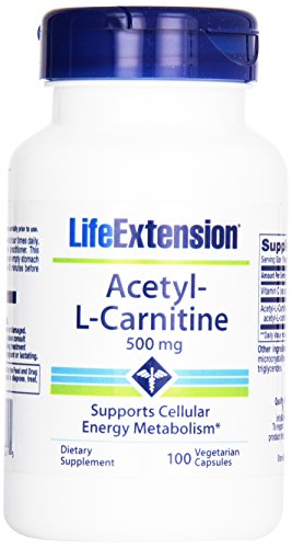 Life Extension Acetyl L-carnitine 500mg Vegetarian Capsules, 100-count (Pack of 12) by Life Extension