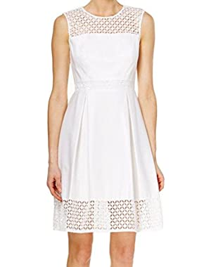Calvin Klein Womens Crochet-Laced Pleated Dress White Ivory 14