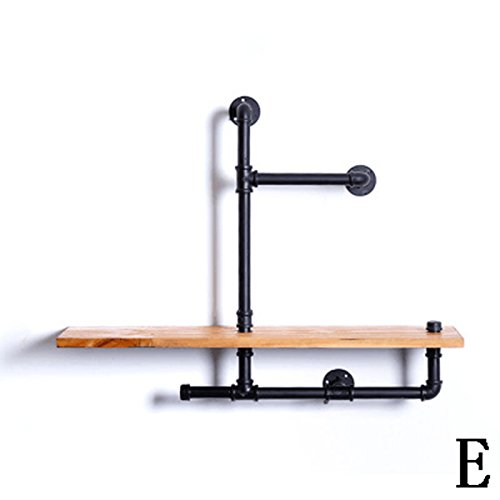 Rural Water Pipe Iron Tube Bookshelf Solid Wood Flower Stand Plumbing Flower Stand Retro Industrial Style Furniture Pipe Wall-mounted Storage Rack Wall Surface Decorations Display Stand Display Stands