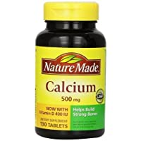 Nature Made Calcium, 500 mg, With Vitamin D, Tablets, 130 ct (Pack of 3)