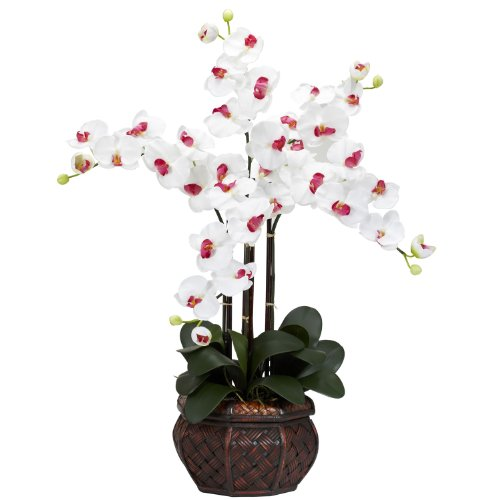 Nearly Natural 1211-WH Phalaenopsis with Decorative Vase Silk Flower Arrangement, White