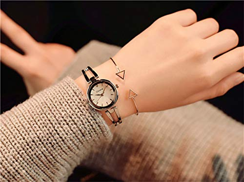 Woman Watch Women Girls Students Unique Gift Ideas Fashionable Metal Chain Small Quartz Watch (Silver (Box Sent Triangular Hollow Bracelet +)