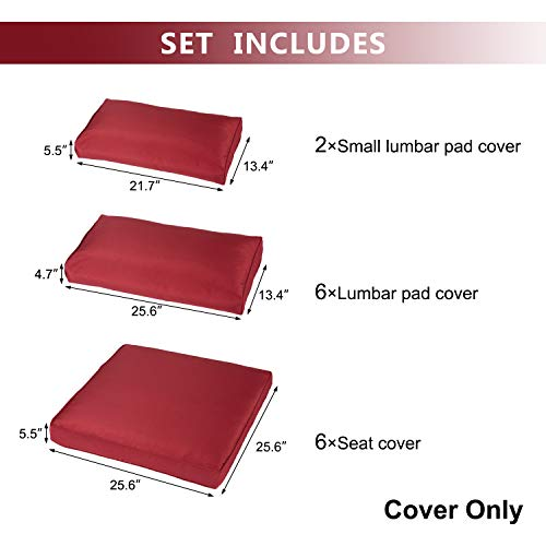 Kinbor Patio Wicker Furniture Sectional Sofa Seat Rattan Patio Seating Cushion Cover Set (Claret)