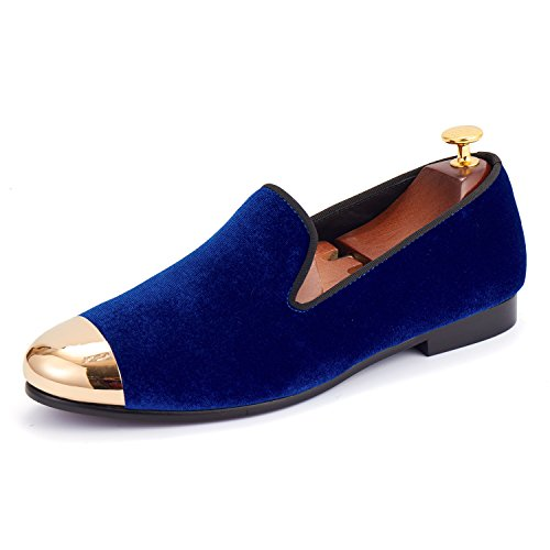 Classic Men Wedding Shoes Handmade Velvet Loafers with Gold Cap Toe (7)