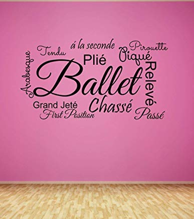 (LilithCroft99 Ballet Decal Teen Wall Decal Girls Decal Dancer Wall Decor Vinyl Lettering Princess Dancing Dance Studio Ballet Positions)