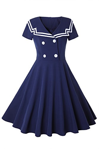 MERRYA Women's Vintage 1950s Sailor Short Sleeve Party Swing Tea Dress Size L (Navy Blue)