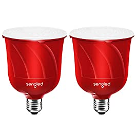 Sengled Pulse Satellite LED Smart Bulb with JBL Bluetooth Speaker, Requires Pulse Starter Kit, App Controlled Up to 8 BR30 LED Light Bulbs, E26 Base, Candy Apple Red, 2 Pack