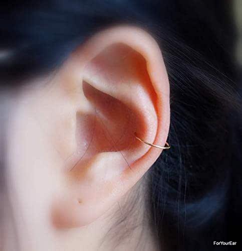 Amazon.com: 146) No Piercing **THIN** Wire Hoop Ear Cuff