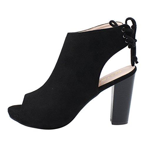 Beston De18 Womens Indietro Allacciatura Cut Out Peep Toe Tacchi Alla Caviglia Run One Size Small Black