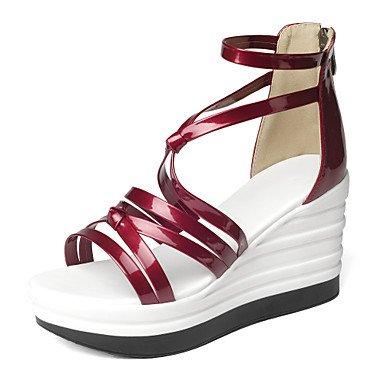 LvYuan Tacón Cuña-Gladiador Zapatos del club-Sandalias-Vestido Informal Fiesta y Noche-Semicuero-Negro Rojo Blanco Plata Red