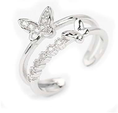 S&E Women's Sterling Silver diamond Butterfly Finger Rings,Open Adjustable Hoop Wrap Ring