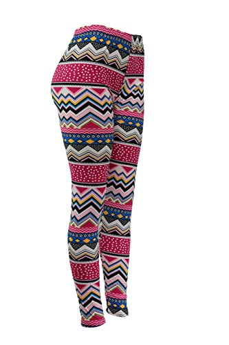 Popular Women's Plus Size Print Full Length Leggings - Pink (Pink Cheveron)