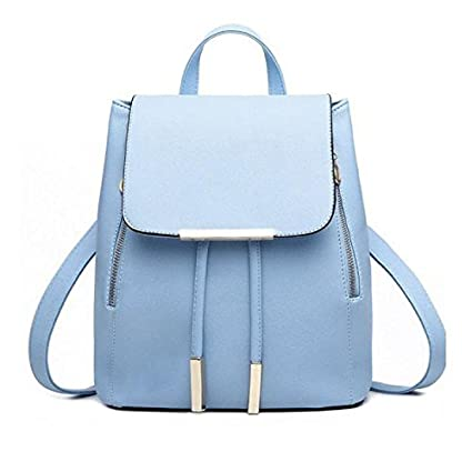 Backpacks,Han Shi Women Girls Leather Schoolbags Travel Casual Shoulder Bag Mochila (Blue,