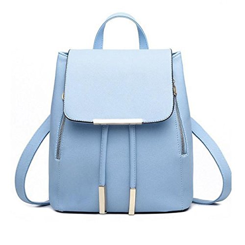 Backpacks,Han Shi Women Girls Leather Schoolbags Travel Casual Shoulder Bag Mochila (Blue, M)