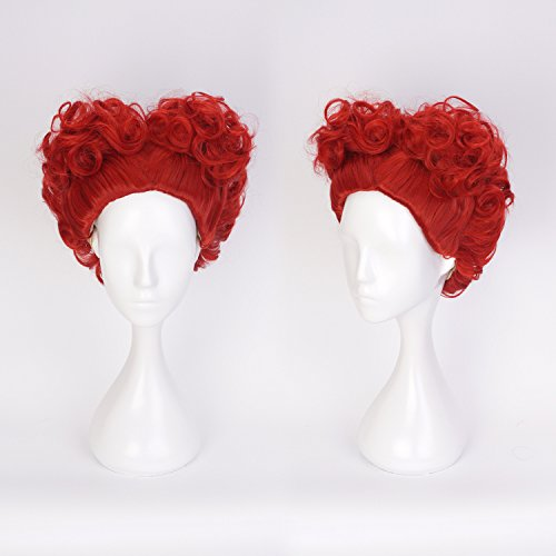 Ani·Lnc Wig Red Queen Wig Cosplay Short Spiral Curly Hair Heart Shaped Wig Halloween Costume Anime Wig for Girls (Queen Of Hearts Costume Hair)