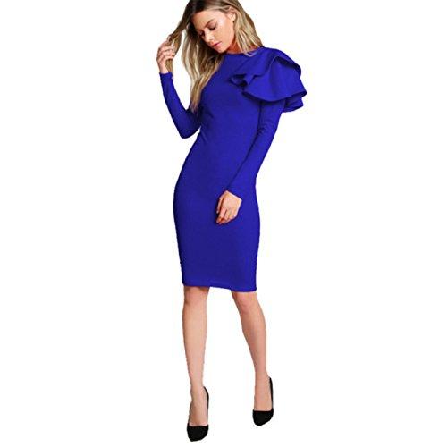 Bleu Longues L Longue Taille Mi Manches De Mode Tendance Élégante Soirée Robe Volants Moulante PqFFB1