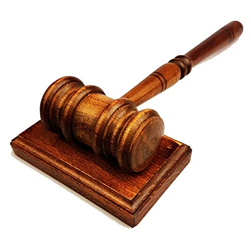"Gavel & Sound Block - Handmade Wooden Lawyers Judges Gavel - 11"" Inches - Gloss Finish Gavel and Square Block Sound - Handcrafted Perfect for Judge Lawyer Auction Gavels - Best Gift Idea for Birthday"