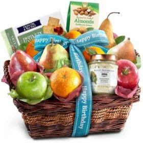 Expect More Happy Birthday Fruit and Cheese Gift Basket