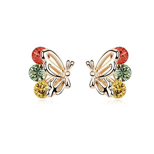 Gorgeous Jewelry Butterfly Wings Diamond Accented Style Beautiful Multicolor Crystal Champagne Gold Plated Color Females Stud Earring (Butterfly Madame Setting)