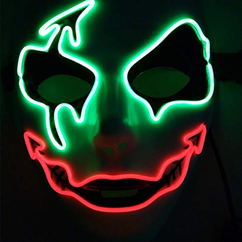 Wenasi Frightening LED Light Up Halloween Mask, EL Wire Glowing Scary Mask for Halloween Party Cosplay Costume -