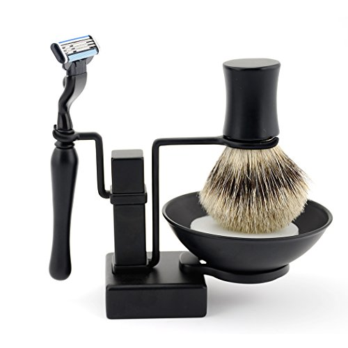 Grandslam Cool Frosted Black Shave Stand Safety Razor Brush Mug Shaving Soap Gift Set,Valentine's Gift Version for Your Beard Man ()