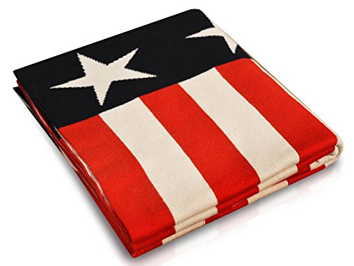 casa pura Knit Throw Blanket | Lightweight Knitted Cotton Blanket for Kids or Baby Nursery | Stars and Stripes Design | Multiple Designs and Sizes | 40