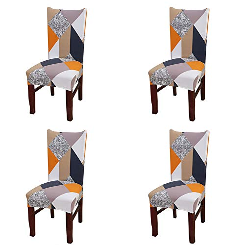 nordmiex Spendex Dining Chair Slipcovers – 4 Pieces Removable Dining Chair Covers Wrinkle and Stain Resistant Chair Protector Fitted Stretch Cushion Covers for Dining Room,-Geometric
